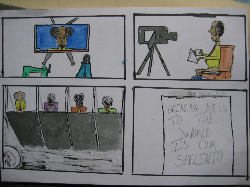 An anonymous young adult created this cartoon, which lampoons news journalists. 2012
