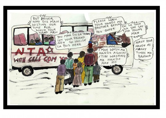 Youth artist 'J.D.' depicts a public conversation about ebola