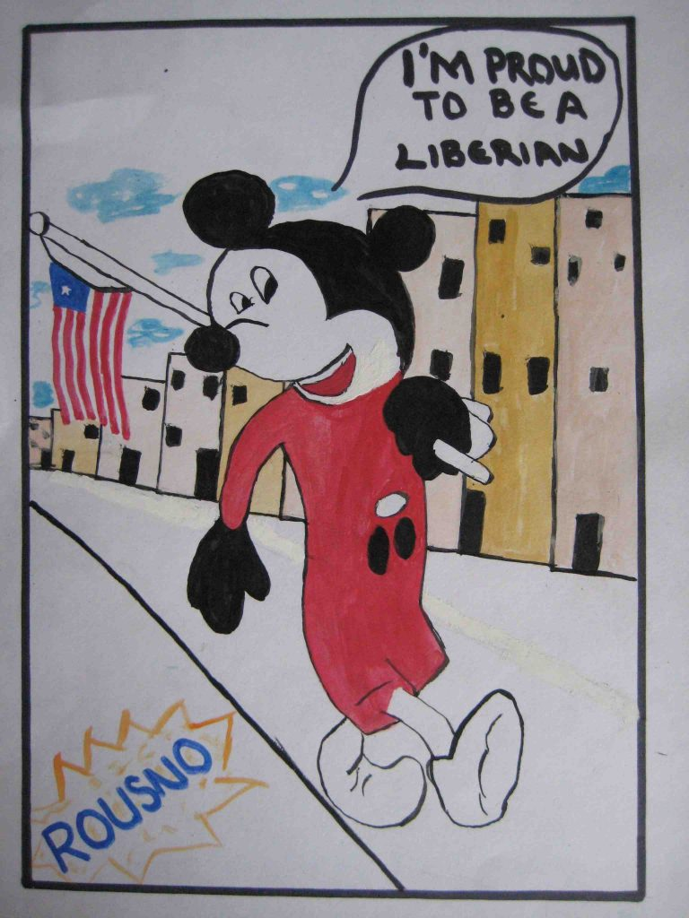 Youth artist 'Rousno' shows Liberian pride and cosmopolitan cartoon influences in this 2012 piece