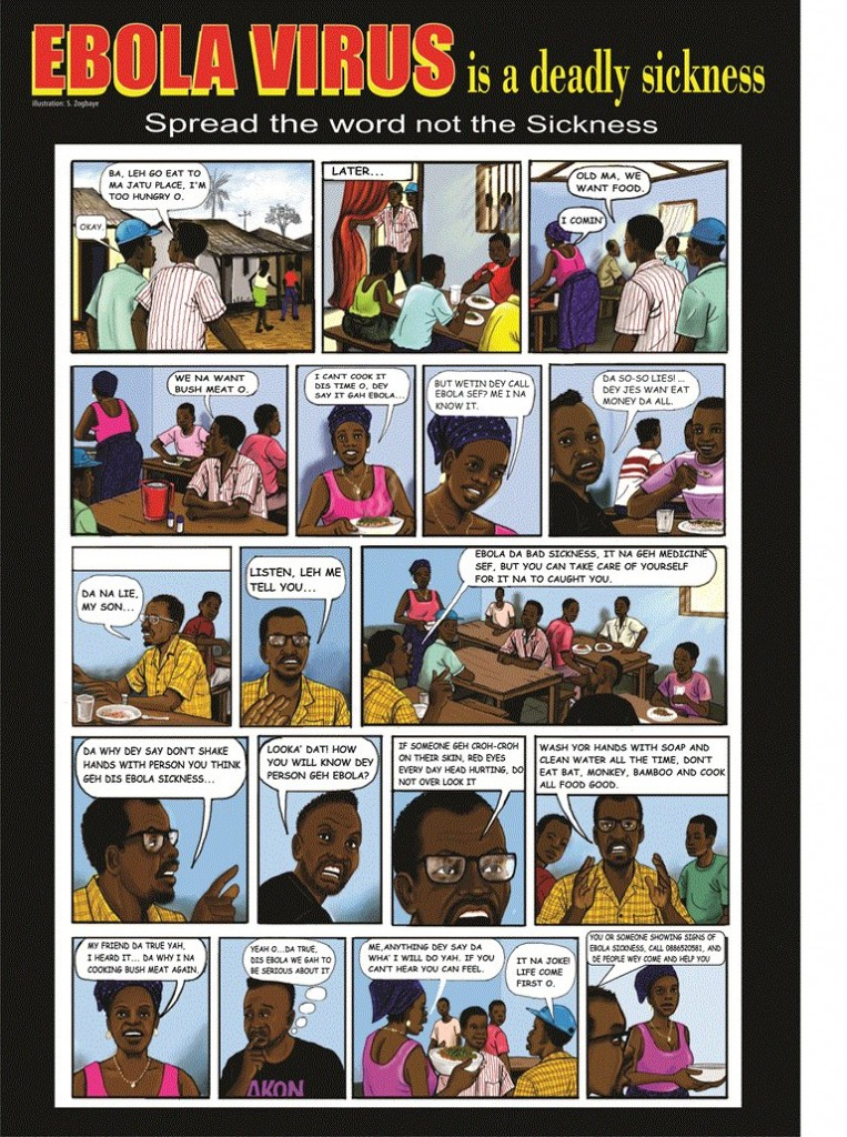UNMIL cartoonist Samson Zogbaye uses Liberian English and everyday scenarios to convey messages about health and non-violence
