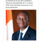 A tweet from President Ouattara of Cote d'Ivoire