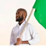Sishuwa Sishuwa with the Zambian flag